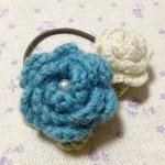 バラのヘアゴム~ブルー×ホワイト~