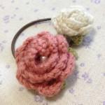 バラのヘアゴム~ピンク×ホワイト~