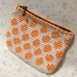 水玉ポーチ2~orange×white~