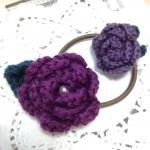 紫薔薇のヘアゴム