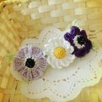 アネモネとマーガレットのバレッタ(紫)