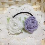 薔薇のヘアゴム(白×パープル)
