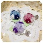 紫陽花のヘアクリップ3色